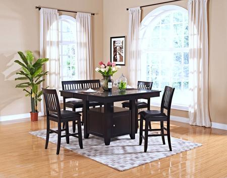 New Classic Home Furnishings 4510210Ccb Kaylee 6 Piece In Espresso Finish Wood Classic Design Dining Tables (View 8 of 25)