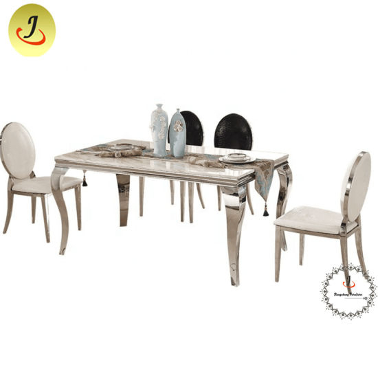 New Design Rectangle Stainless Steel Mirror Glass Top Dining Table For Event With Steel And Glass Rectangle Dining Tables (View 11 of 25)