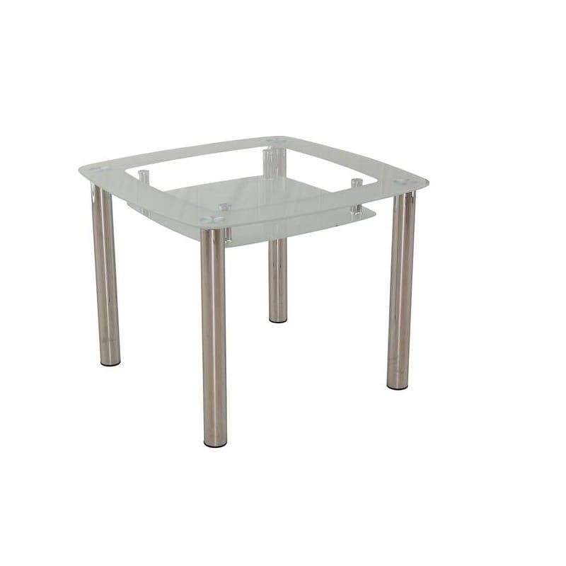 New Spec 2 Tier Modern Glass Dining Table In Chrome In Chrome Contemporary Square Casual Dining Tables (View 11 of 25)
