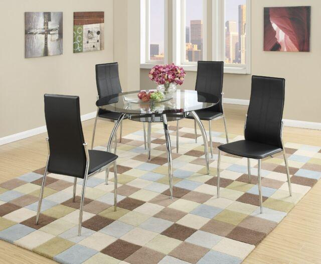 New Tulsa Ii Modern Round Black Chrome Metal Glass Top Dining Table Kitchen  Set With Regard To Modern Round Glass Top Dining Tables (Image 19 of 25)