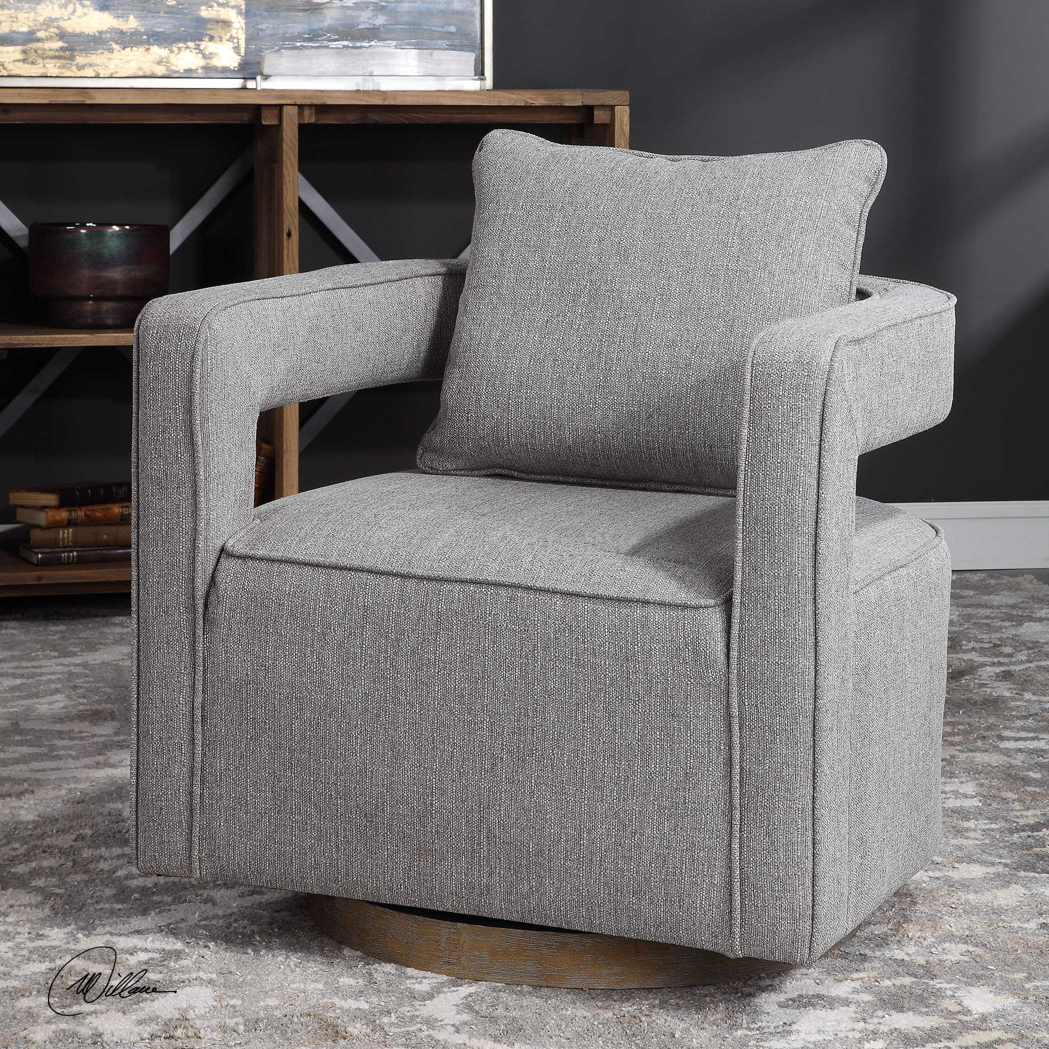 Nixon Swivel Chair | Uttermost Within Woven High Back Swivel Chairs (Image 14 of 25)