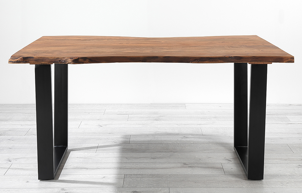 Noah 160Cm Dining Table With Acacia Wood Top & Metal Legs With Regard To Acacia Top Dining Tables With Metal Legs (Image 19 of 25)