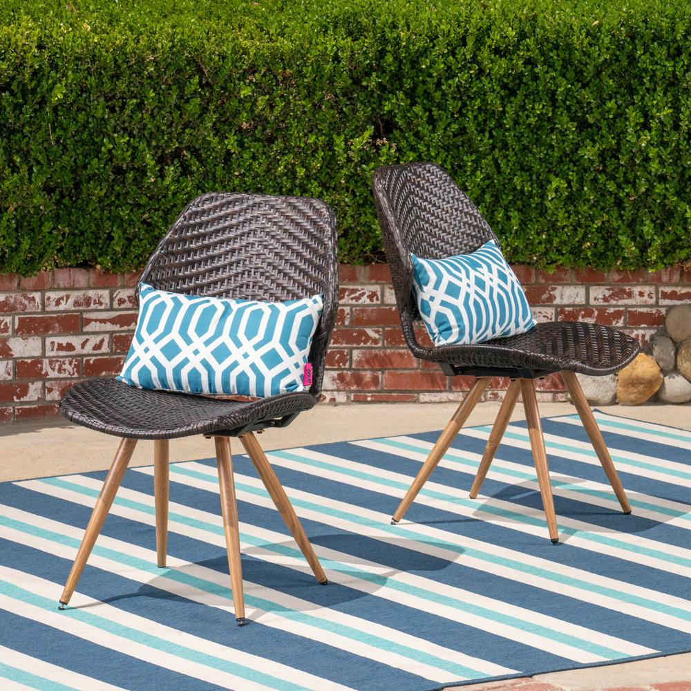 Noble House Bianca Stationary Wicker Outdoor Dining Chair (2 In Outdoor Wicker Plastic Half Moon Leaf Shape Porch Swings (View 11 of 25)