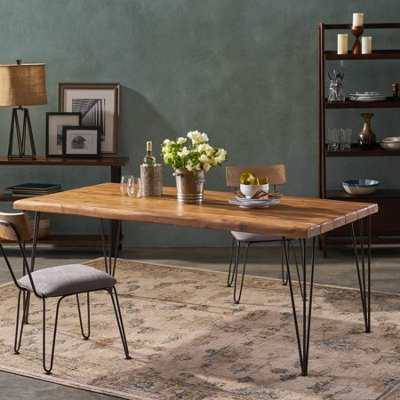 Noble House Reuben Indoor 72 Inch Rectangular Acacia Wood With Acacia Top Dining Tables With Metal Legs (Image 20 of 25)