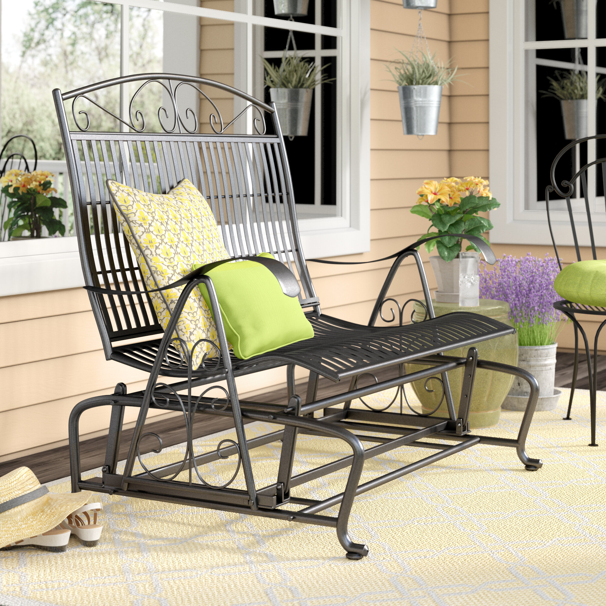 Nocona Iron Double Patio Glider Bench Within Iron Double Patio Glider Benches (Image 17 of 25)