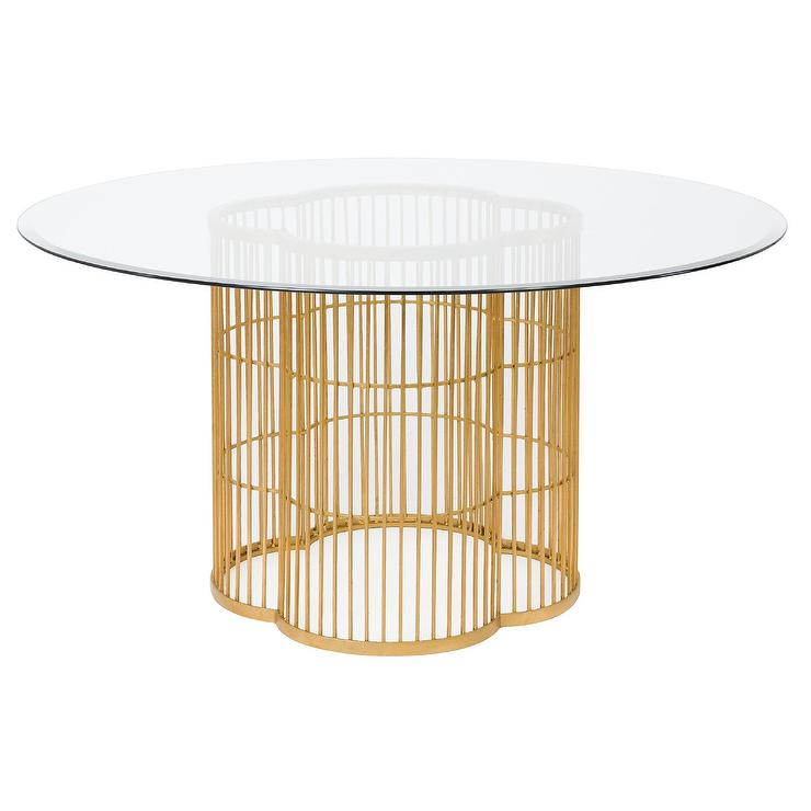 Noore Gold Leaf Glass Dining Table Regarding Modern Gold Dining Tables With Clear Glass (View 11 of 26)