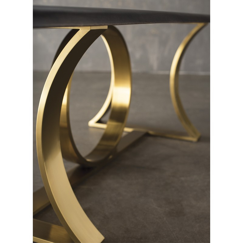Nuevo Orielle Dining Table (Long – Seared Oak With Gold Base Throughout Dining Tables In Seared Oak With Brass Detail (View 20 of 25)
