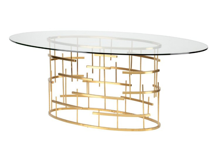 Nuevo Tiffany Oval Dining Room Table – Fee Shipping In Modern Gold Dining Tables With Clear Glass (View 12 of 26)
