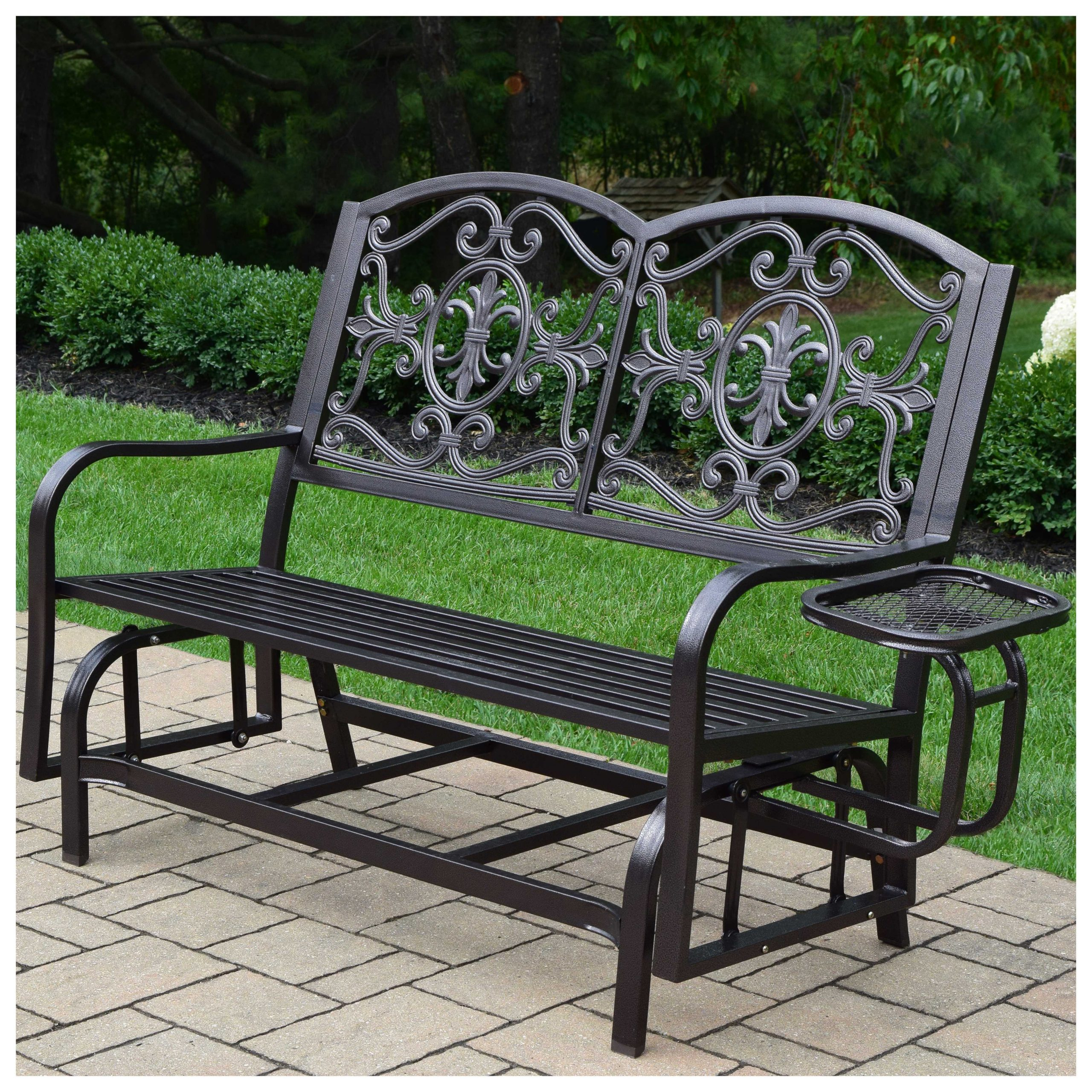 Oakland Living Lakeville Double Glider With Side Tray Patio Regarding Metal Powder Coat Double Seat Glider Benches (View 6 of 25)