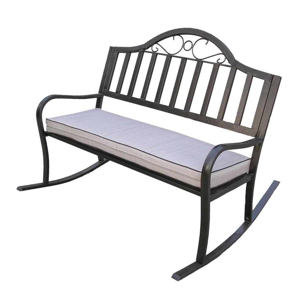 Oakland Living Rochester Metal Outdoor Rocking Chair With Pertaining To Rocking Benches With Cushions (View 3 of 25)