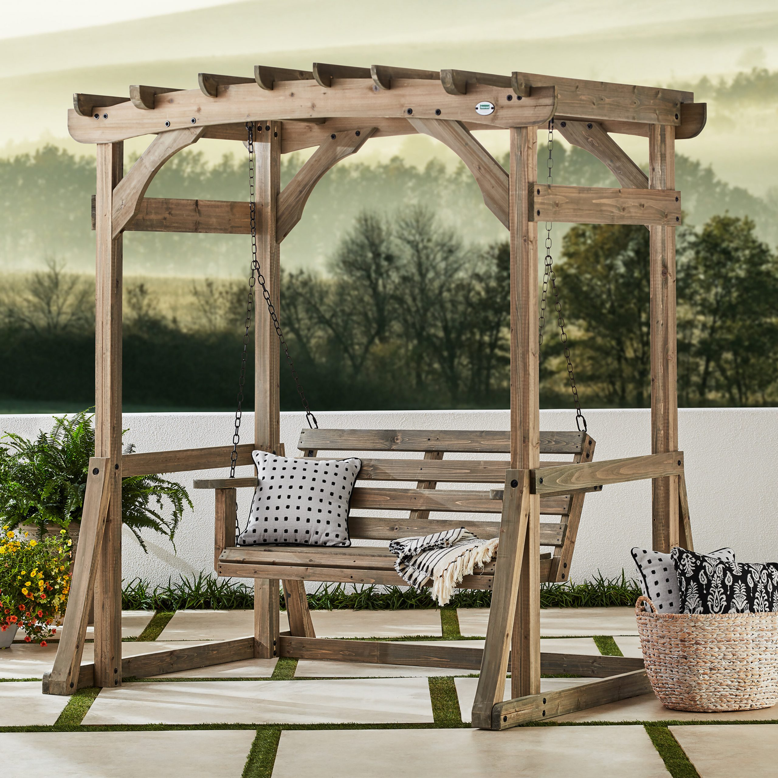 Odessa Pergola Porch Swing With Stand Intended For Pergola Porch Swings With Stand (View 10 of 26)