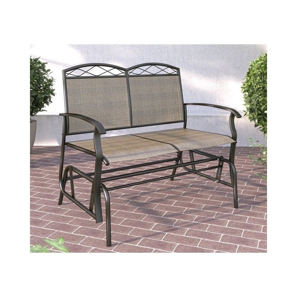 Onax Patio Double Glider In Brown – Corliving   Patio Pertaining To Metal Powder Coat Double Seat Glider Benches (View 8 of 25)
