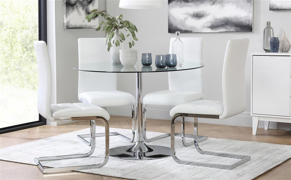 Orbit Round Glass & Chrome Dining Table With 4 Perth White Pertaining To Eames Style Dining Tables With Chromed Leg And Tempered Glass Top (View 10 of 25)