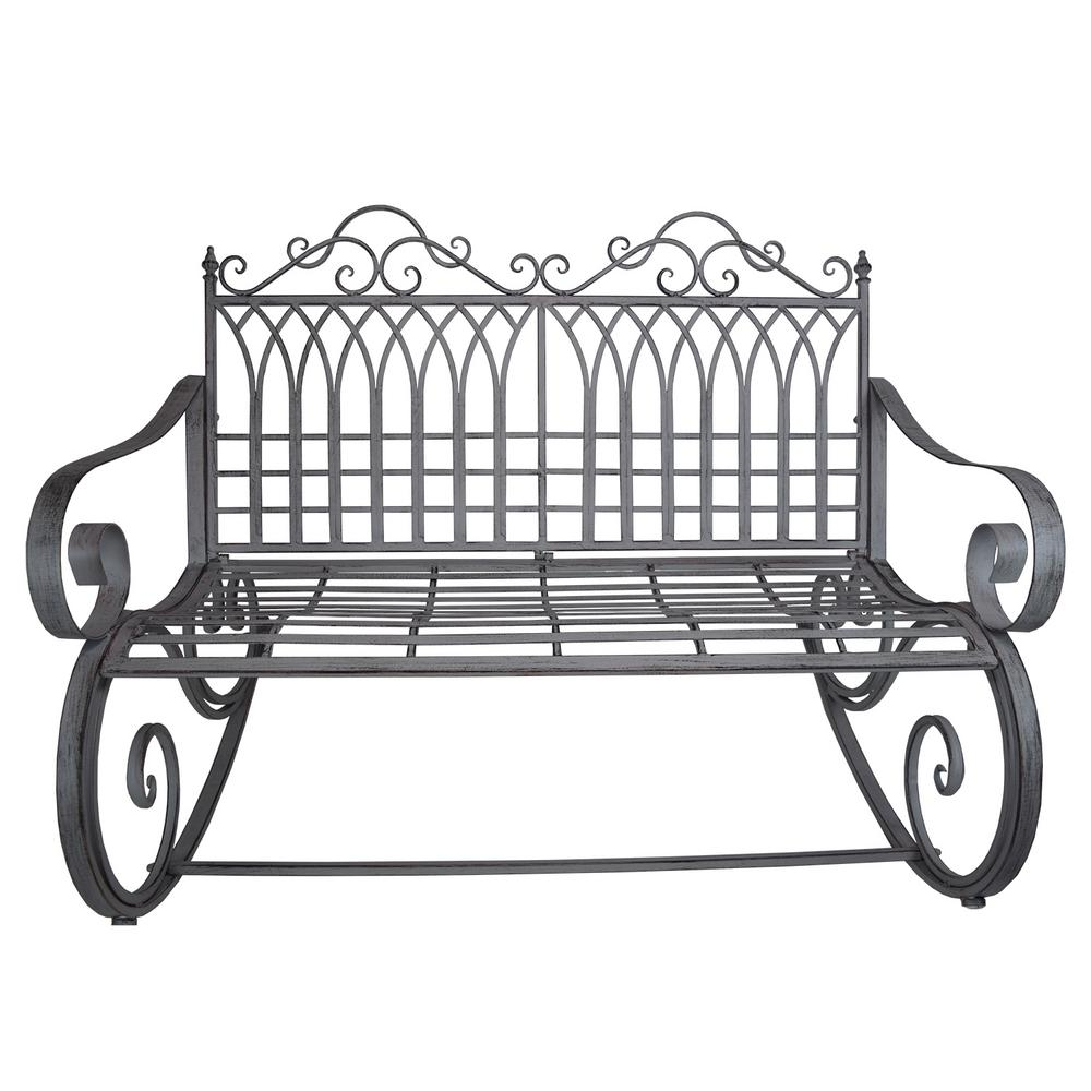 Ornate Traditional Iron And Steel Outdoor Patio Porch Garden Rocking Bench Loveseat In Antique Grey Within 1 Person Antique Black Steel Outdoor Gliders (View 22 of 25)