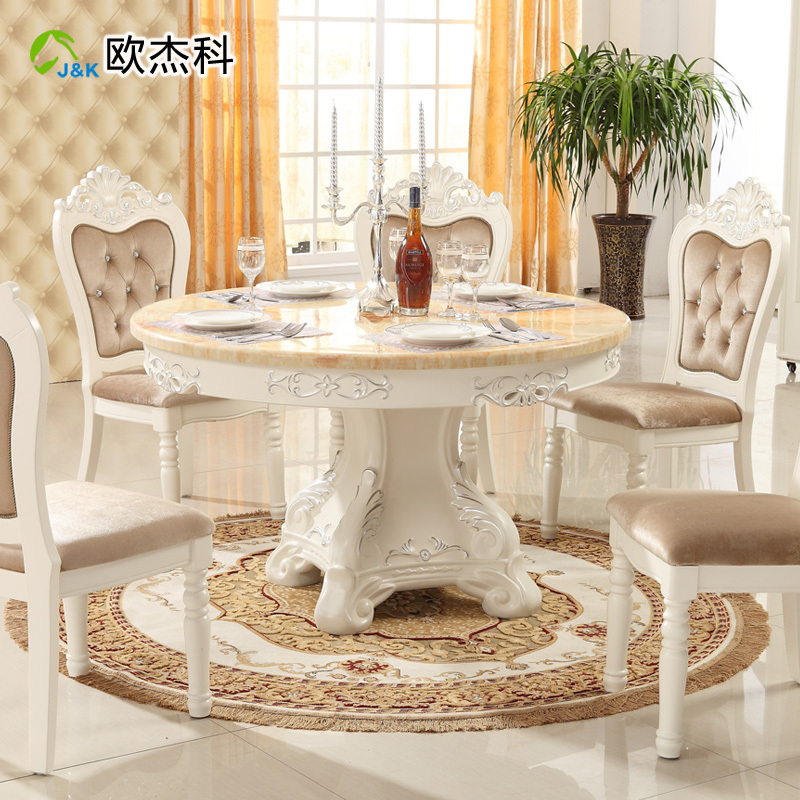 Oujie Ke Continental Combination Of Solid Wood Dining Tables Intended For Solid Wood Circular Dining Tables White (Image 13 of 25)