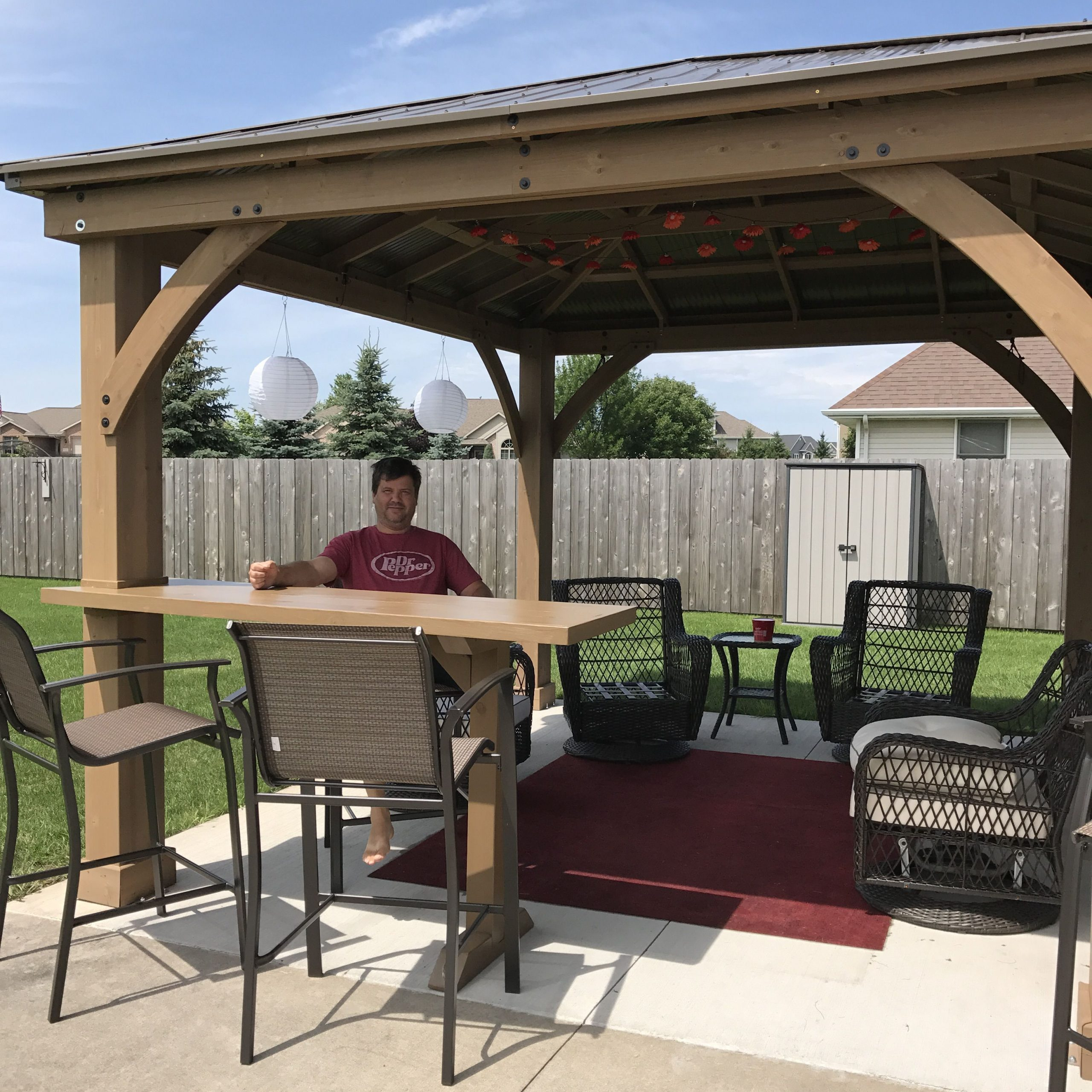 Our Yardistry Gazebo With Custom Bar Top Addition For A4 Ft Cedar Pergola Swings (Image 21 of 25)
