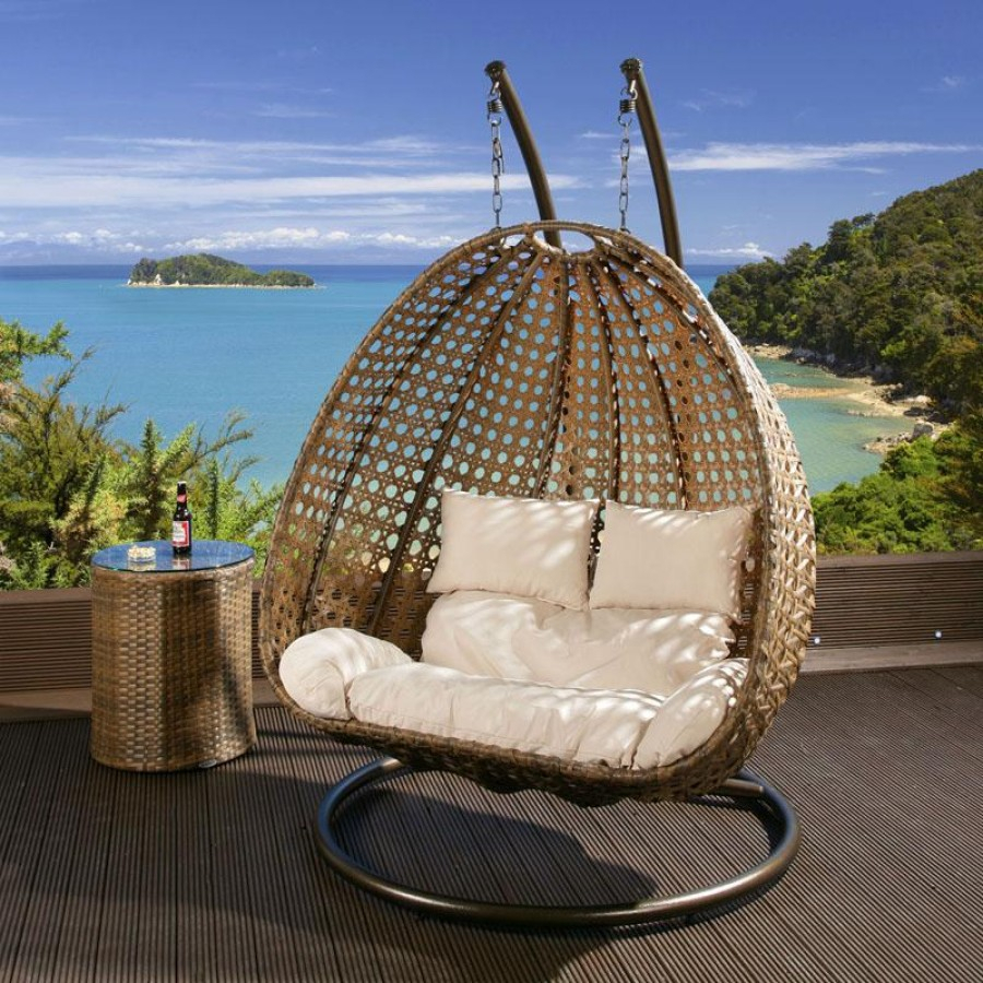 Outdoor 2 Person Garden Hanging Chair Brown Rattan – With Rattan Garden Swing Chairs (View 11 of 25)