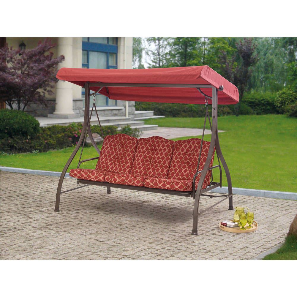 Outdoor 3 Person Swing Canopy Hammock Seat Patio Deck With Regard To Porch Swings With Canopy (View 3 of 25)