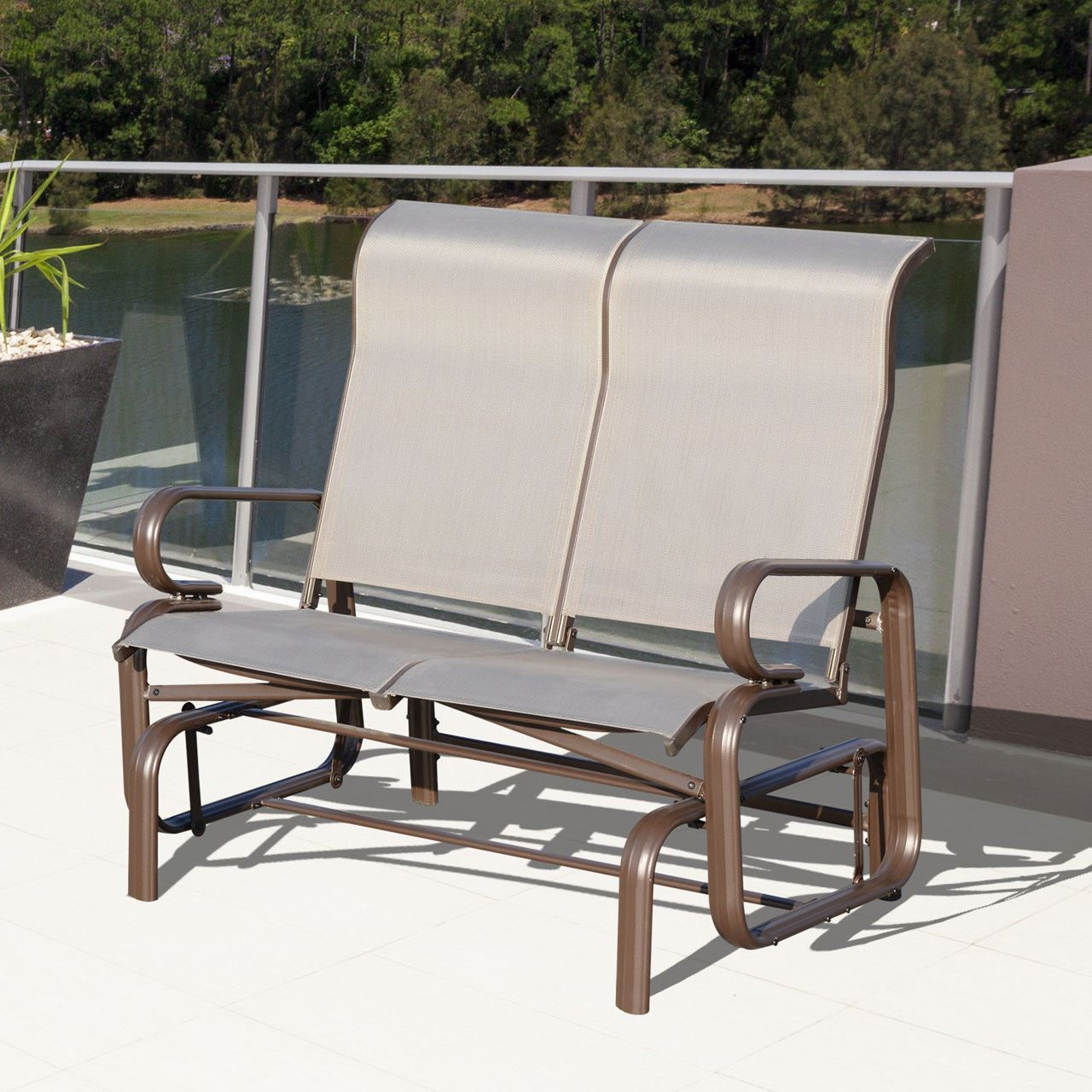 Outdoor Aluminum Double Glider Rocking Bench Swing For Iron Double Patio Glider Benches (Image 18 of 25)