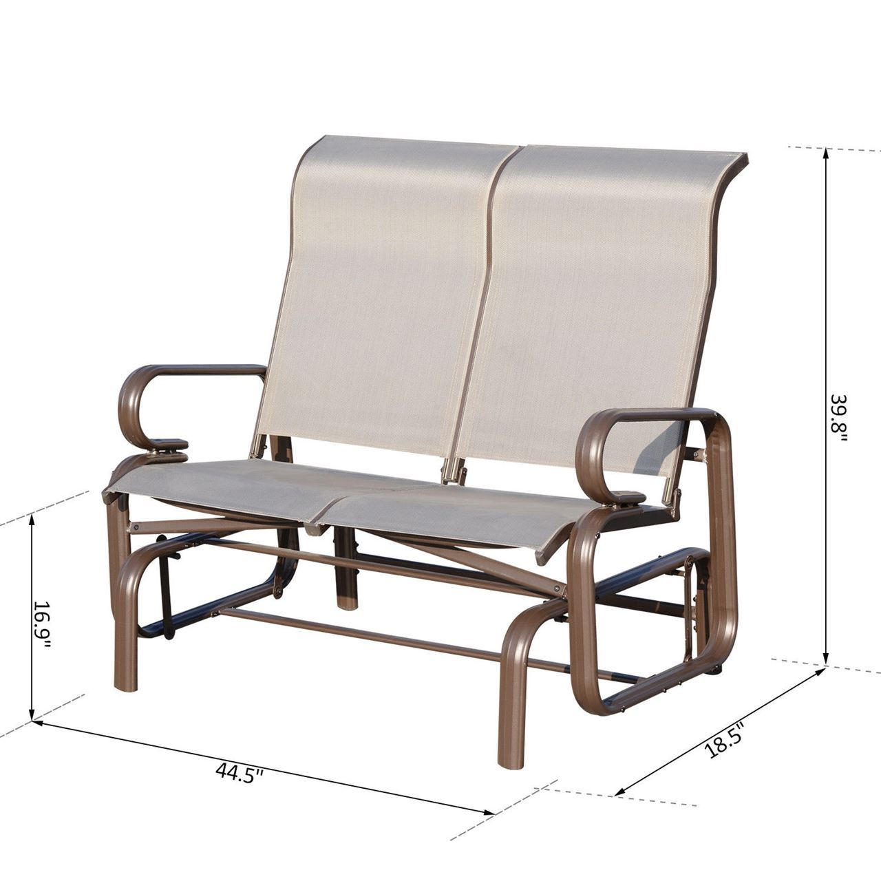 Outdoor Aluminum Double Glider Rocking Bench Swing Intended For Double Glider Benches With Cushion (Image 17 of 25)