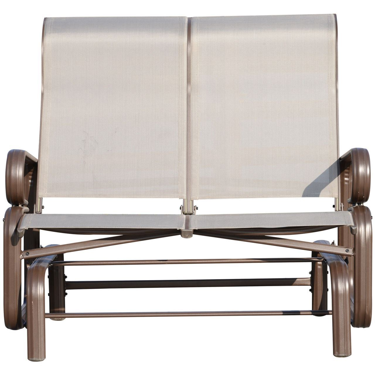 Outdoor Aluminum Double Glider Rocking Bench Swing Regarding Aluminum Outdoor Double Glider Benches (View 6 of 25)