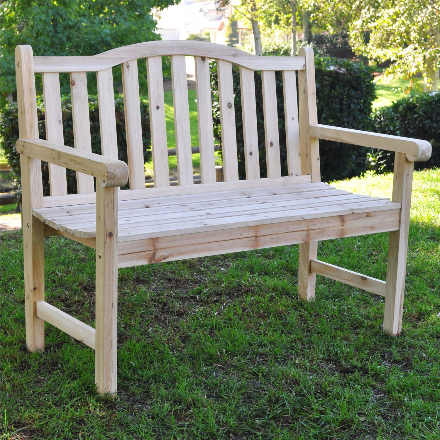 Outdoor Cedar Wood Garden Bench In Natural With 475Lbs (View 16 of 25)