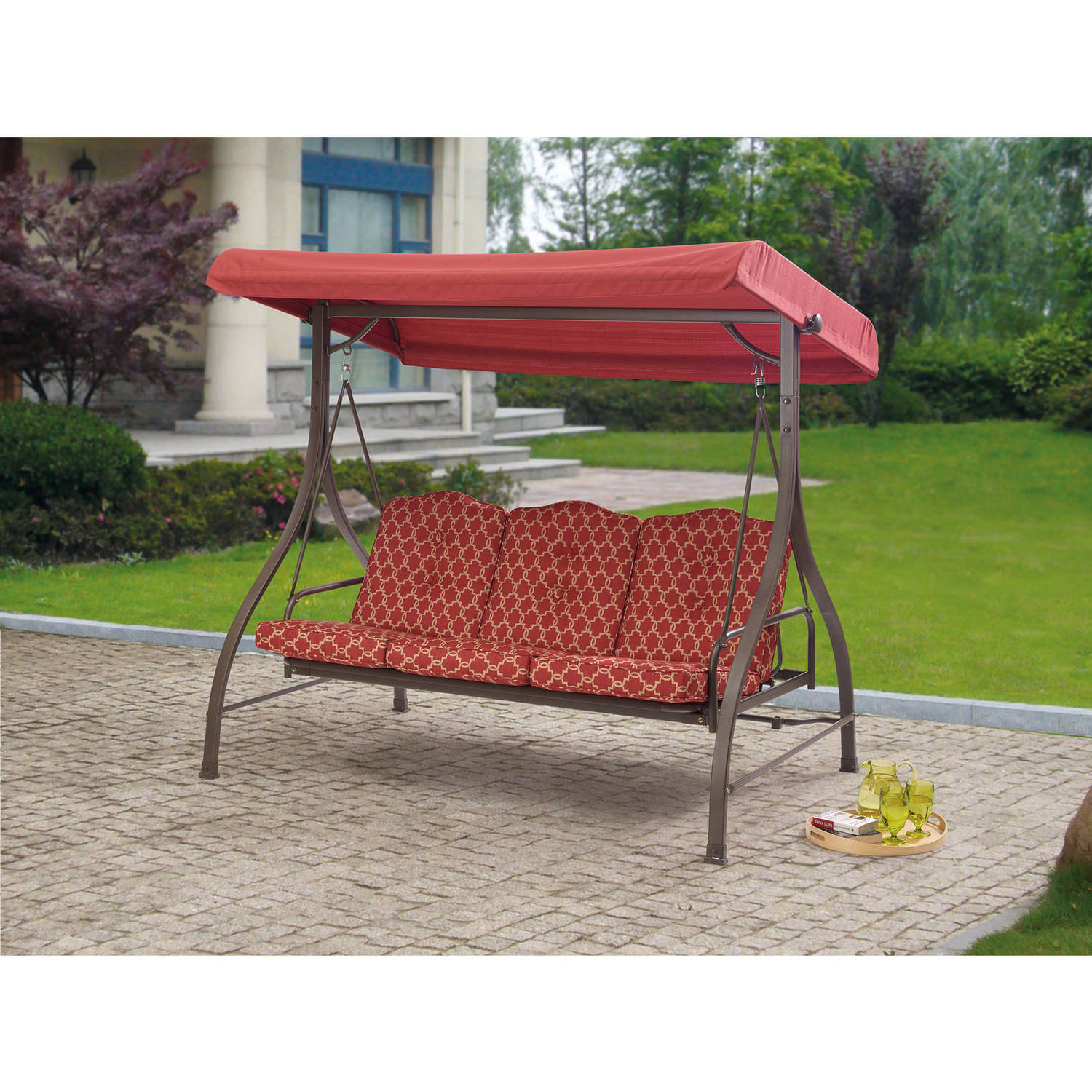 Outdoor: Cozy Outdoor Swing Cushions For Your Patio In 3 Seats Patio Canopy Swing Gliders Hammock Cushioned Steel Frame (Image 20 of 25)
