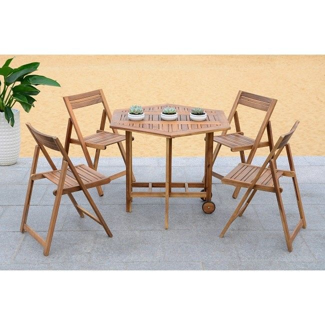 Outdoor Dining Table 5 Piece Set Acacia Wood Patio Furniture Brown Chair Modern For Acacia Dining Tables With Black Legs (View 24 of 25)