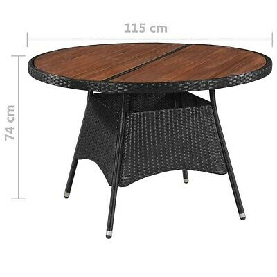 Outdoor Dining Table Brown Rattan Solid Acacia Wood Round Patio Table  Furniture | Ebay With Solid Acacia Wood Dining Tables (Image 13 of 25)
