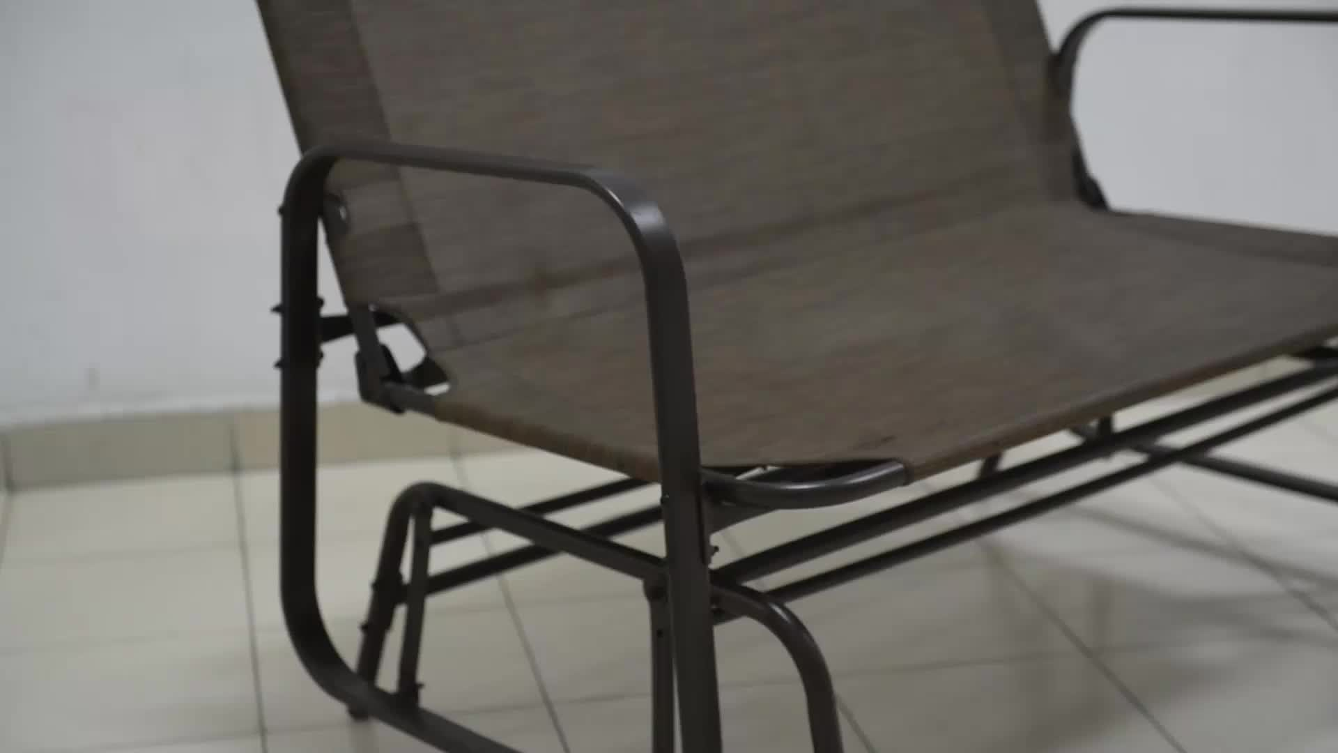 Outdoor Garden Steel Frame Patio Swing Glider Loveseat Bench Rocking Chair  – Buy Outdoor Garden Bench,metal Garden Bench,glider Rocking Chair Product Inside Black Outdoor Durable Steel Frame Patio Swing Glider Bench Chairs (Photo 11 of 25)