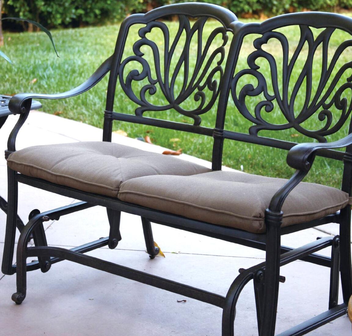 Outdoor Glider Elisabeth Patio Cast Aluminum Bench Furniture Black Desert Bronze Pertaining To Aluminum Outdoor Double Glider Benches (View 25 of 25)
