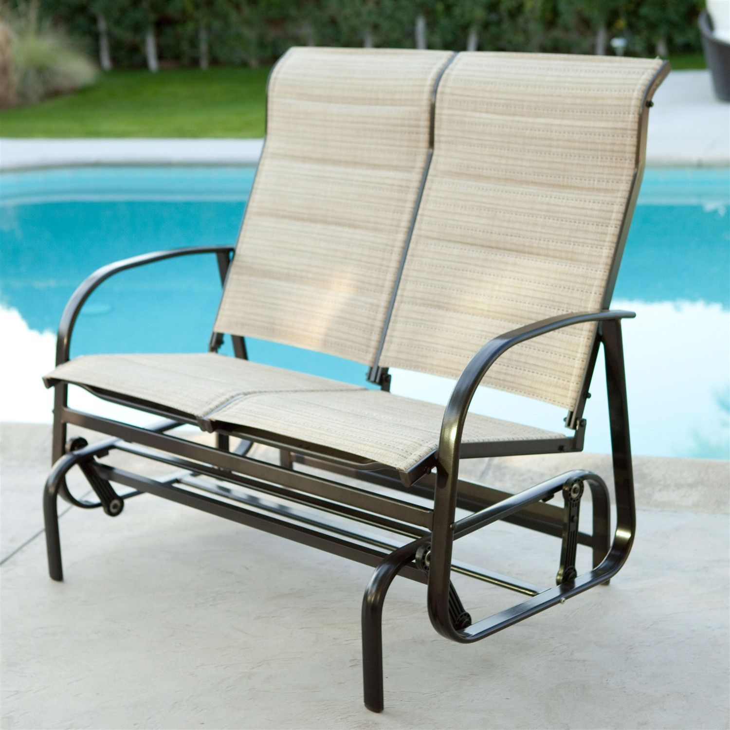 Outdoor Glider Patio Chair Loveseat With Padded Sling Seats Regarding Padded Sling Double Glider Benches (View 18 of 25)