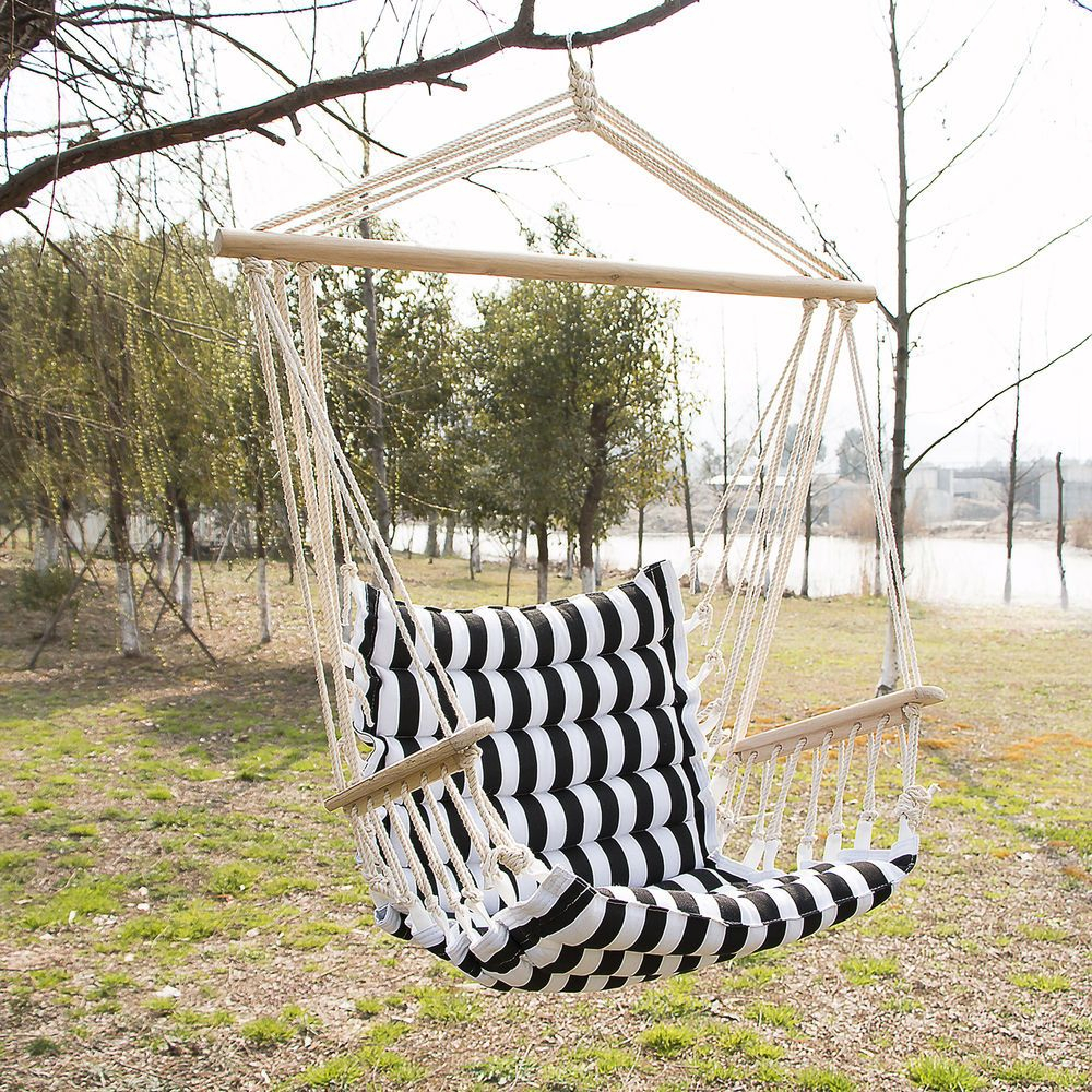 Outdoor Hanging Rope Chair Deluxe Porch Swing Yard Hammock Intended For Cotton Porch Swings (View 16 of 25)