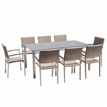 Outdoor Metal Frame Brushed Surface Aluminium Dining Table Set – Buy Malaysia Dining Table Set,hideaway Dining Table And Chair Set,royal Design Dining Pertaining To Dining Tables With Brushed Stainless Steel Frame (View 11 of 25)