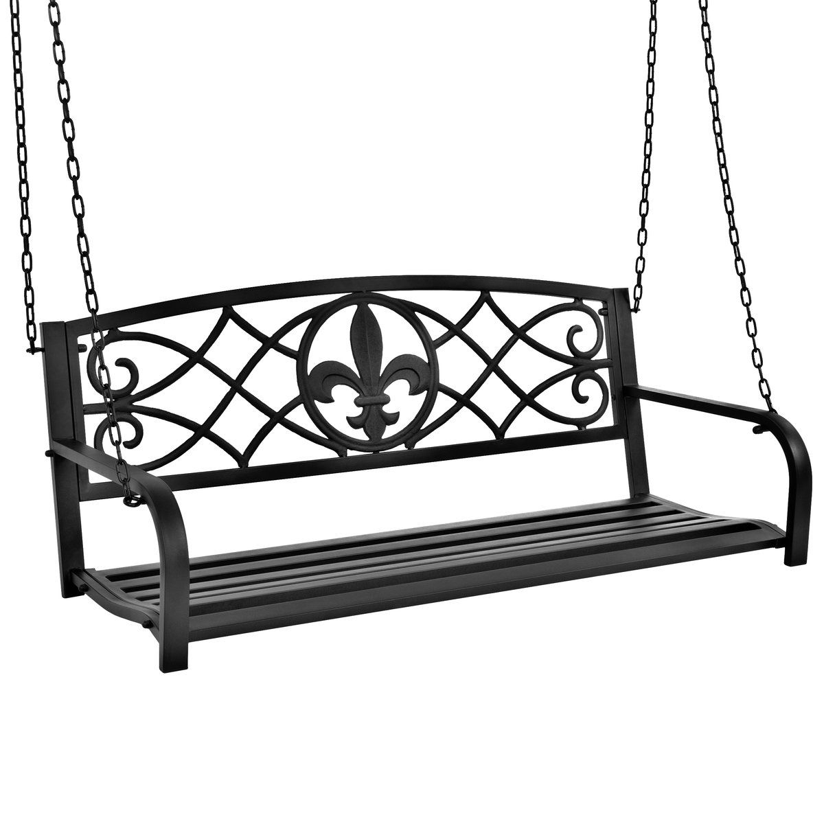 Outdoor Metal Hanging 2 Person Swing Bench W/ Fleur De Lis With Regard To 2 Person Gray Steel Outdoor Swings (View 5 of 25)