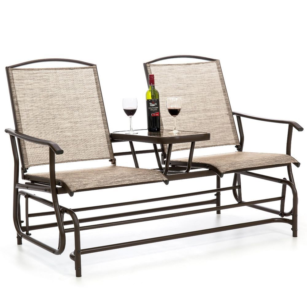 Outdoor Patio 2 Person Mesh Fabric Double Glider W/ Tempered Pertaining To Center Table Double Glider Benches (View 4 of 25)