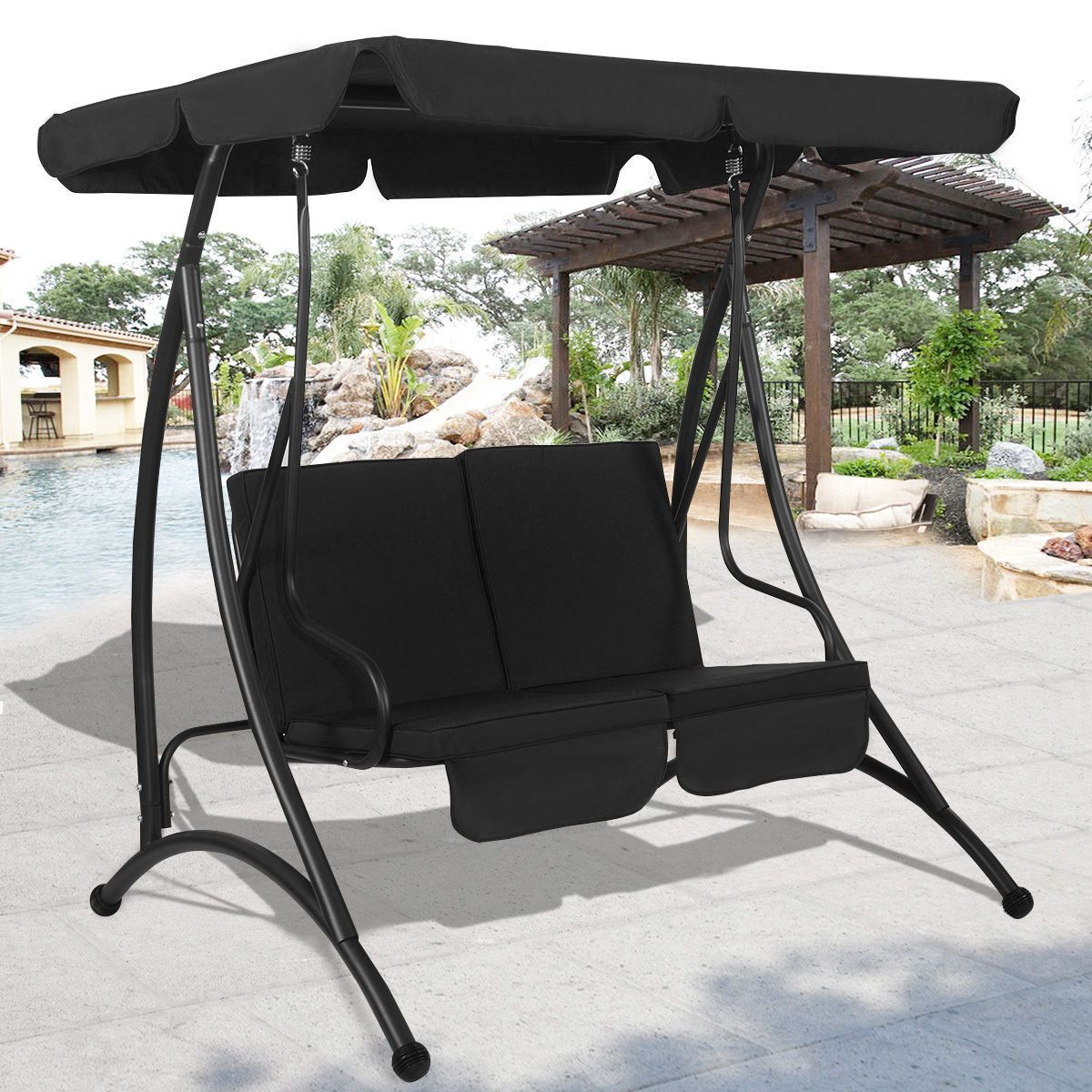 Outdoor Patio Canopy Swing Chair Metal 2 Person Garden Inside Canopy Patio Porch Swings With Pillows And Cup Holders (View 3 of 25)