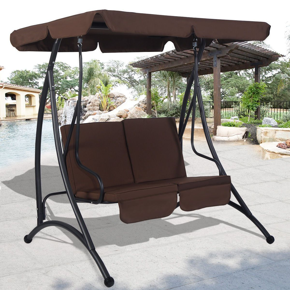 Outdoor Patio Canopy Swing Chair Metal 2 Person Hammock Within Patio Loveseat Canopy Hammock Porch Swings With Stand (Image 20 of 25)