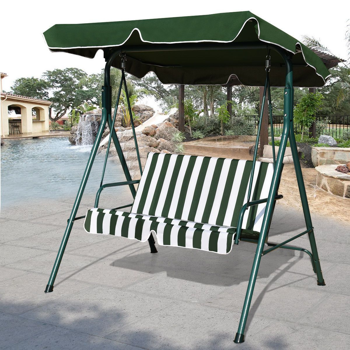 Outdoor Patio Canopy Swing Cushioned Chair Iron 2 Person In 2 Person Gray Steel Outdoor Swings (View 4 of 25)