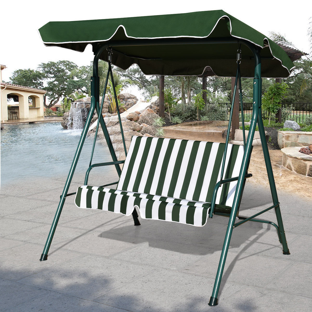 Outdoor Patio Canopy Swing Cushioned Chair Iron 2 Person Yard Furniture Green Intended For 2 Person Antique Black Iron Outdoor Swings (View 4 of 25)