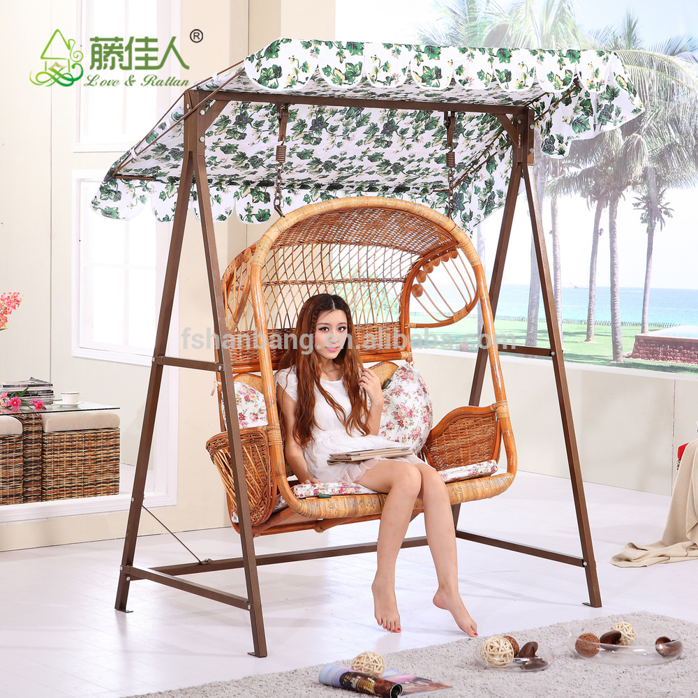 Outdoor Patio Garden Steel Rattan Double Two Love Seat Hanging Swing Chair Set Fo Adults And Kids – Buy Double Swing Chair Set,rattan Two Seat Swing Pertaining To Indoor/outdoor Double Glider Benches (View 6 of 25)