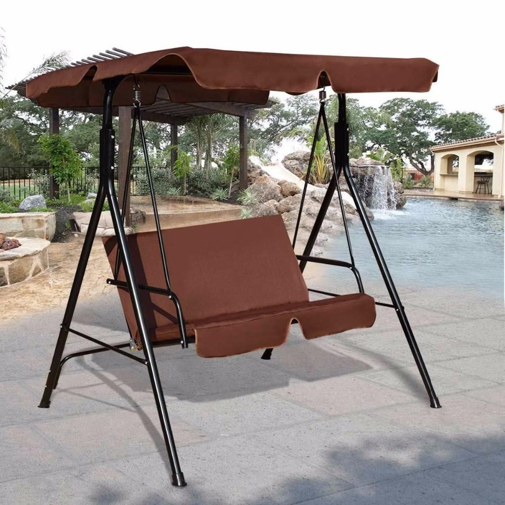 Outdoor Patio Loveseat Canopy Swing, Cushioned Steel Frame 2 With Regard To Patio Loveseat Canopy Hammock Porch Swings With Stand (Image 21 of 25)