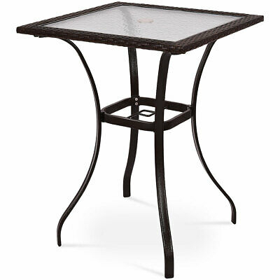 Outdoor Patio Rattan Wicker Bar Square Table Glass Top Yard For Patio Square Bar Dining Tables (View 22 of 25)