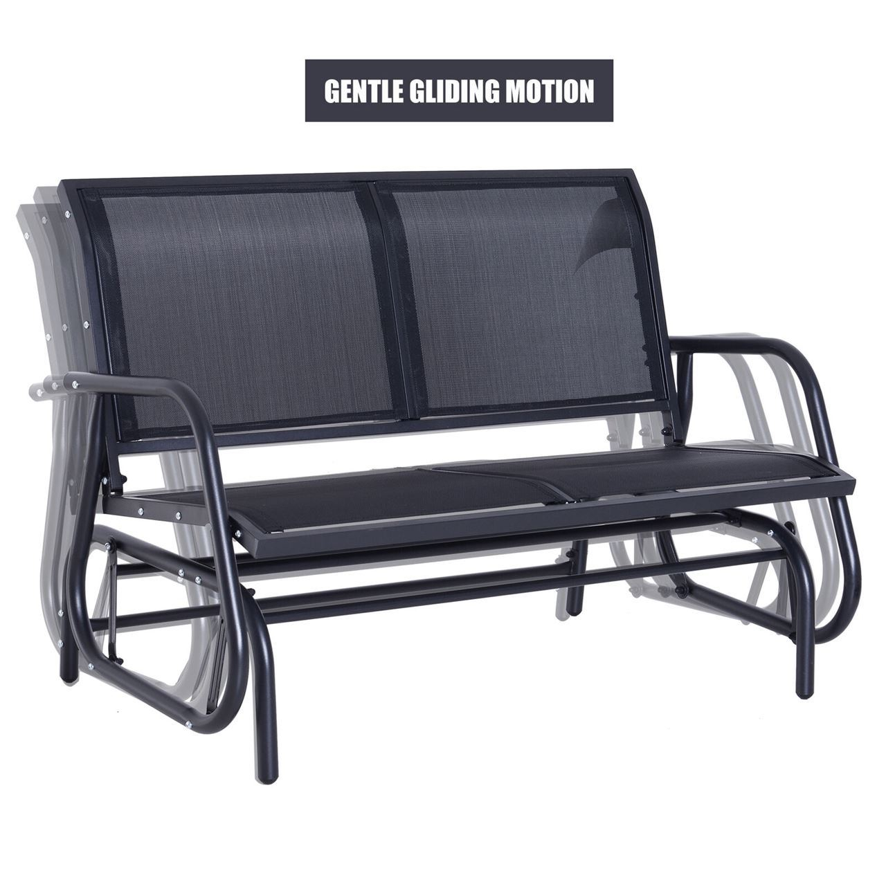 Outdoor Patio Swing Glider Bench Chair – Dark Gray Pertaining To Black Outdoor Durable Steel Frame Patio Swing Glider Bench Chairs (Image 15 of 25)