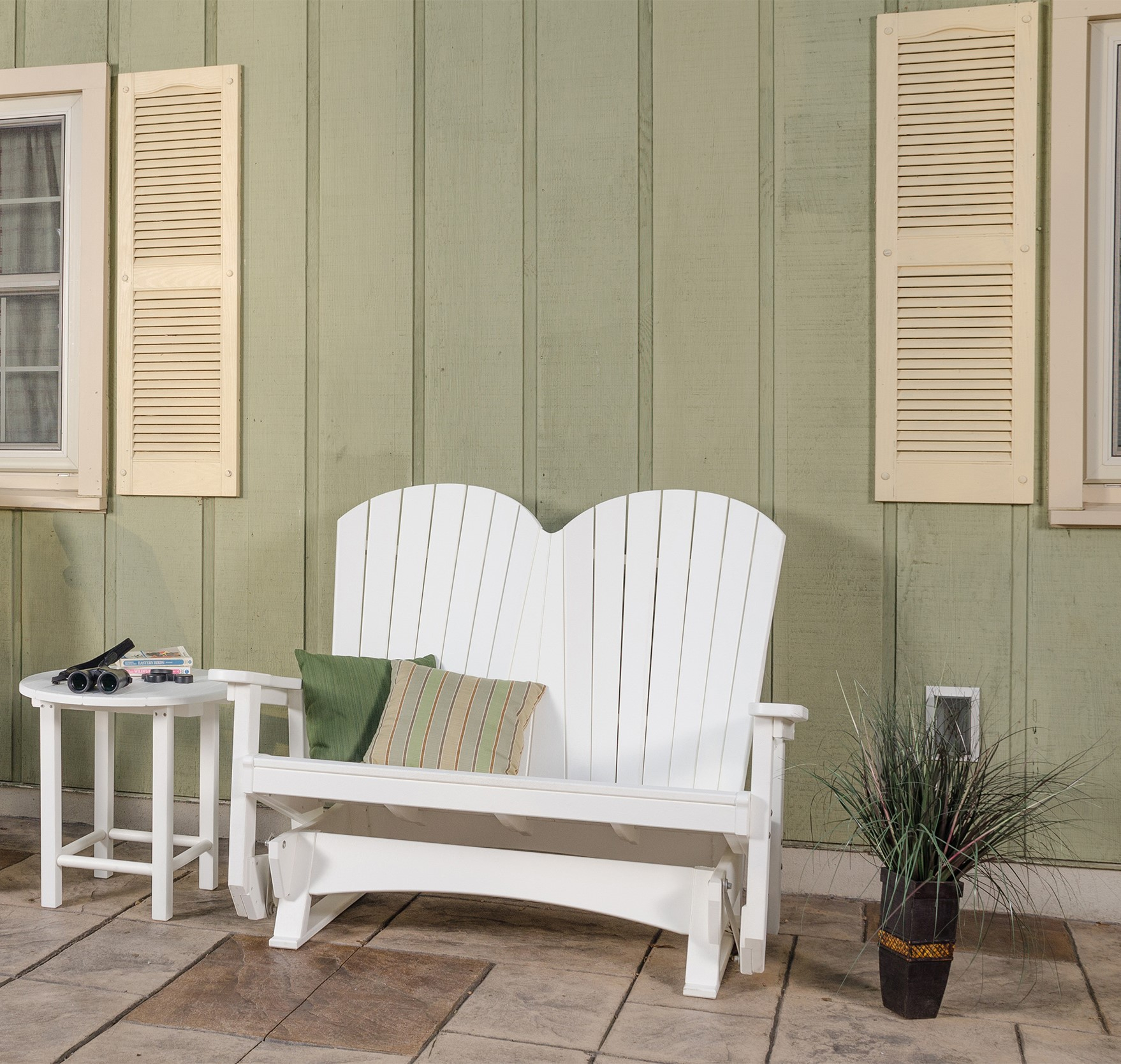 Outdoor Poly Lumber Mission Style Bench With No Back In Center Table Double Glider Benches (View 14 of 25)