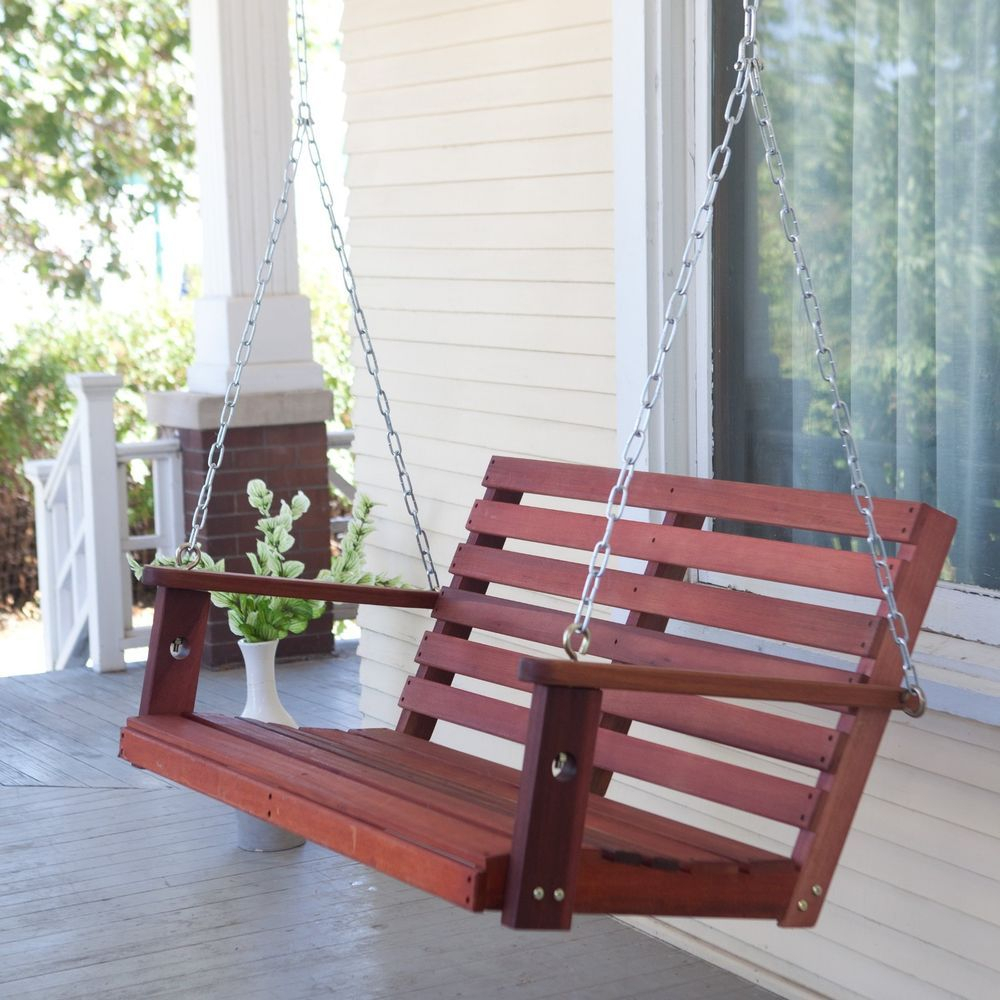 Outdoor Porch Swing Hanging Chair Patio Furniture Bench With Intended For 5 Ft Cedar Swings With Springs (View 8 of 25)