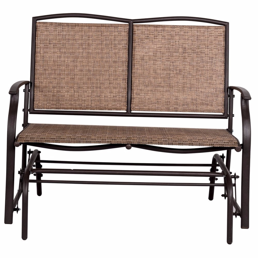 Outdoor Steel Loveseat Double Swing Glider Rocking Chair – Buy Swing Glider  Bench,glider Rocking Chair,double Swing Chair Product On Alibaba Intended For Metal Powder Coat Double Seat Glider Benches (View 4 of 25)