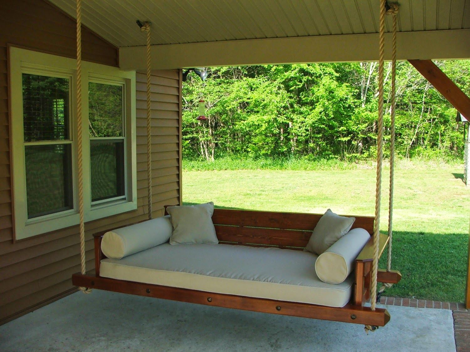 Outdoor Swing Bed Plans | Porch Bed, Modern Porch Swings Within Hardwood Hanging Porch Swings With Stand (View 23 of 25)