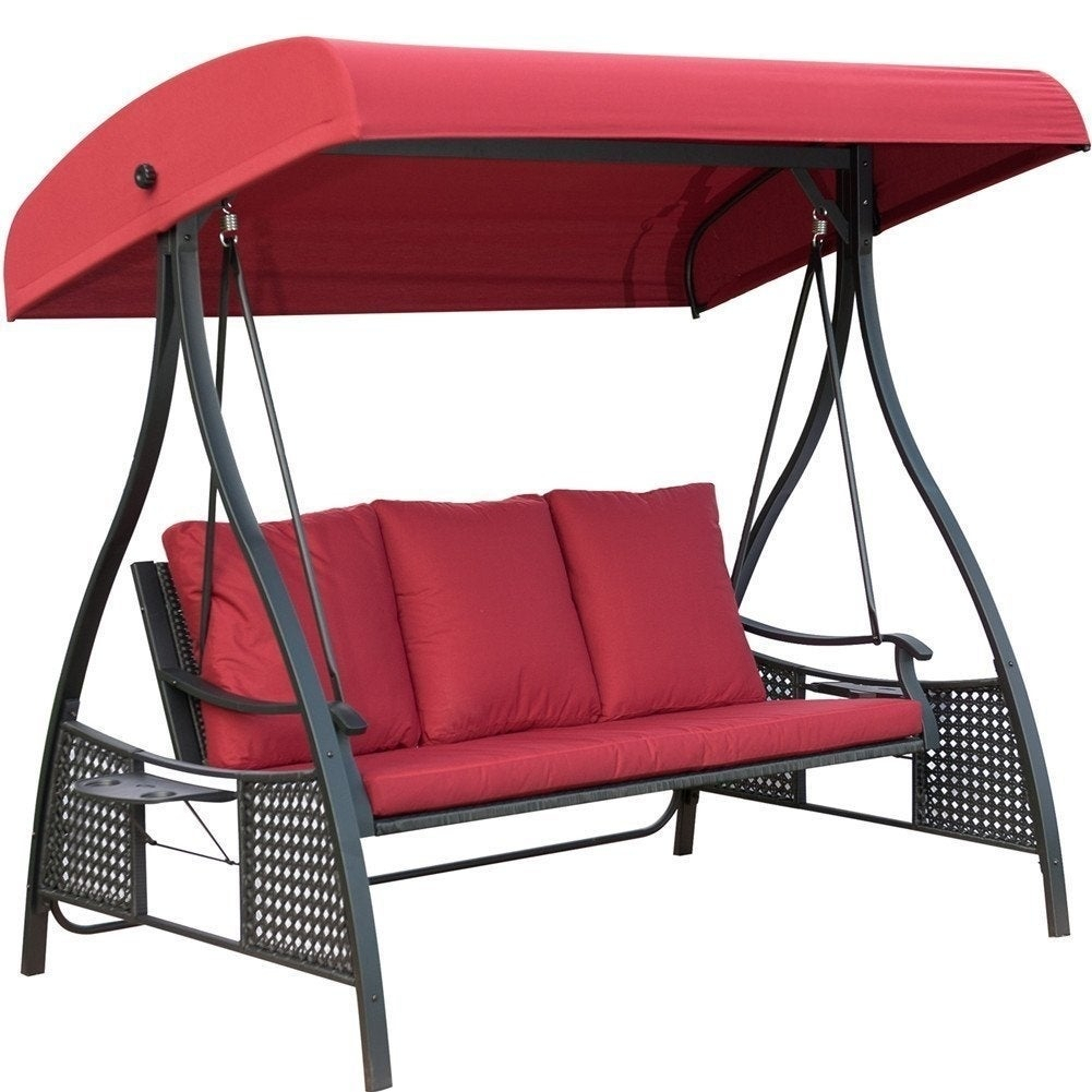 Outdoor Swing Chair, Seats 3 Porch Patio Swing Glider With Durable Steel Frame And Padded Cushion, Red Throughout Outdoor Swing Glider Chairs With Powder Coated Steel Frame (View 20 of 25)