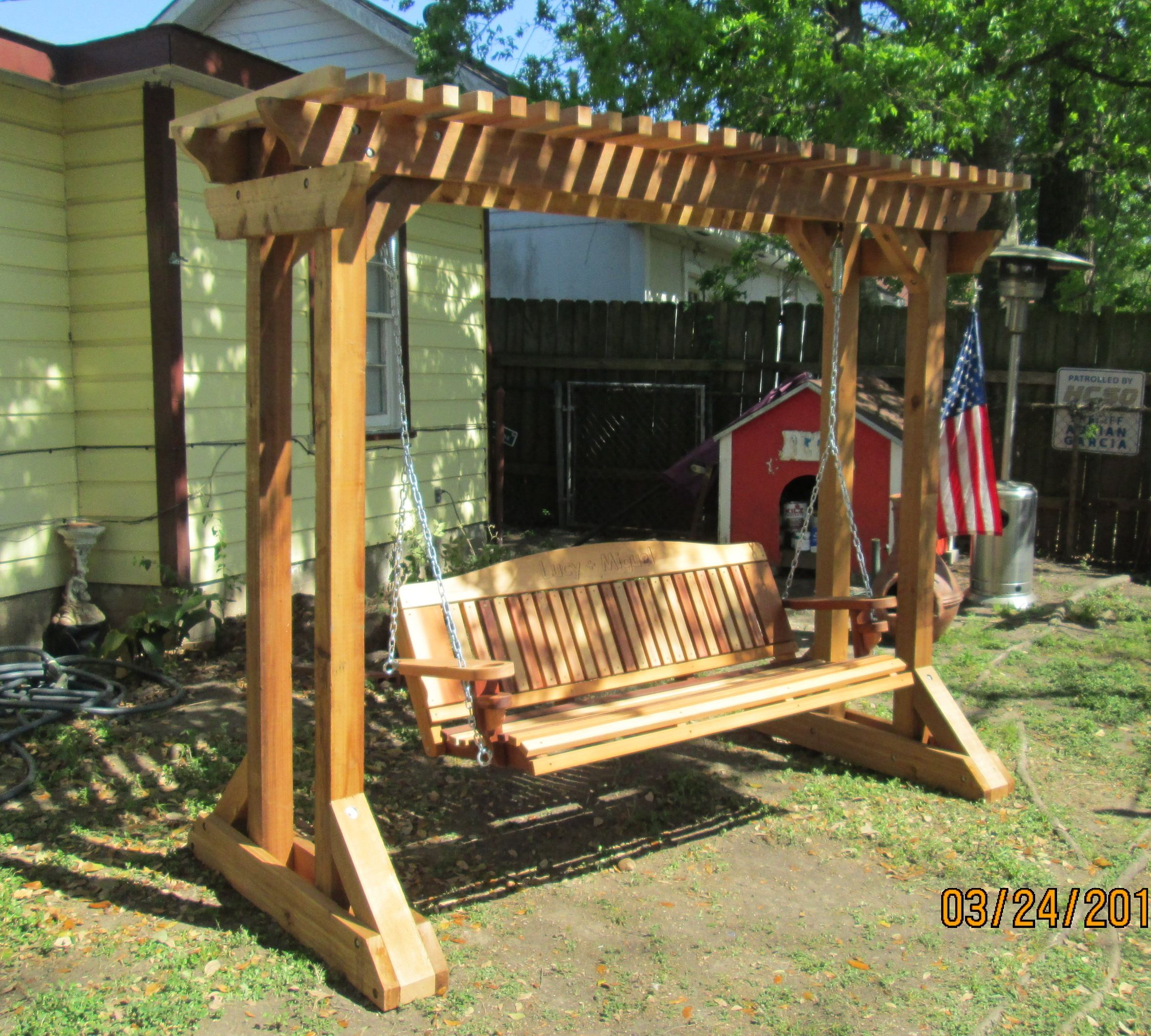 Outdoor Swing Frames | Hand Made Cedar Porch Swings Intended For Hardwood Hanging Porch Swings With Stand (View 3 of 25)
